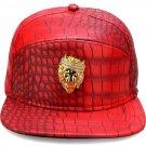 Hip Hop Fashion Unisex Alligator Pattern Crystals Lion Tag Red Baseball Cap