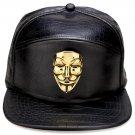Hip Hop Fashion Unisex Alligator Pattern V Mask Tag Black Baseball Cap