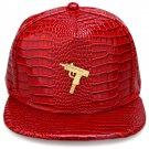 Hip Hop Fashion Unisex Alligator Pattern Machine Gun Tag Red Baseball Cap