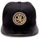 Hip Hop Fashion Unisex Crystals Rotate Hemp Tag Black Baseball Cap