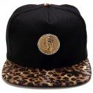 Hip Hop Fashion Unisex Crystals Jesus Tag Leopard Baseball Cap