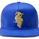Hip Hop Fashion Unisex Crystals Owl Tag Blue Baseball Cap