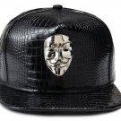 Hip Hop Fashion Unisex Alligator Pattern Silver V Mask Tag Black Baseball Cap