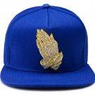 Hip Hop Fashion Unisex Crystals Hands Tag Blue Baseball Cap