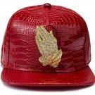 Hip Hop Fashion Unisex Alligator Pattern Crystals Hands Tag Red Baseball Cap