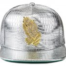 Hip Hop Fashion Unisex Alligator Pattern Crystals Hands Tag Silver Baseball Cap