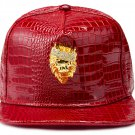 Hip Hop Fashion Unisex Alligator Pattern Crystals Lion Tag Red Baseball Cap