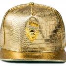 Hip Hop Fashion Unisex Alligator Pattern Crystals Lion Tag Gold Baseball Cap
