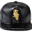 Hip Hop Fashion Unisex Alligator Pattern Crystals Owl Tag Black Baseball Cap