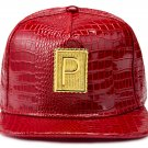 Hip Hop Fashion Unisex Alligator Pattern P Tag Red Baseball Cap