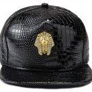 Hip Hop Fashion Unisex Alligator Pattern Crystals Pharaoh Tag Black Baseball Cap