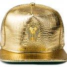 Hip Hop Fashion Unisex Alligator Pattern Crystals Pharaoh Tag Gold Baseball Cap