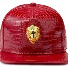 Hip Hop Fashion Unisex Alligator Pattern 3D Lion Tag Red Baseball Cap