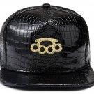 Hip Hop Fashion Unisex Alligator Pattern Crystals Ring Tag Black Baseball Cap
