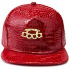 Hip Hop Fashion Unisex Alligator Pattern Crystals Ring Tag Red Baseball Cap
