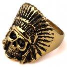 Hip Hop Fashion Unisex Skull Chief Ring (Size US8 ~ US11)