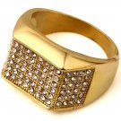 Hip Hop Fashion Unisex Crystals Ring (Size US9 ~ US12)