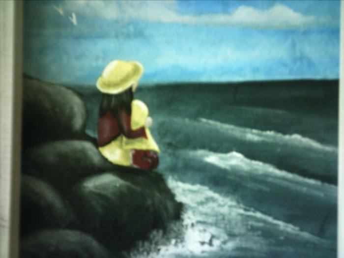 "PENNY BY THE SEASHORE..  9 x 12"" original art .. of the seaside"