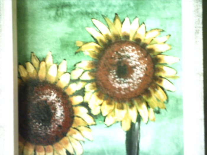 "SUNFLOWERS.. original art.. 9 x 12"" framed"