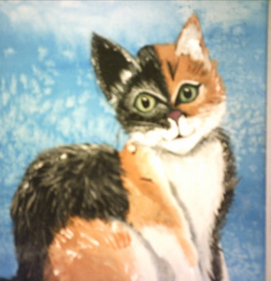 "CURIOUS KITTY CAT... looking thru the window.. 9x12"" original"