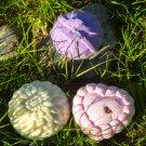 Lavender & Organic Rose Petals Bath Salts (Fizzies) & Gardenia Body Bar Trio
