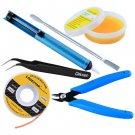 6PC Soldering Kit w/ Desoldering Pump, Tweezers, Cutters, Flux, Wick, Scraper
