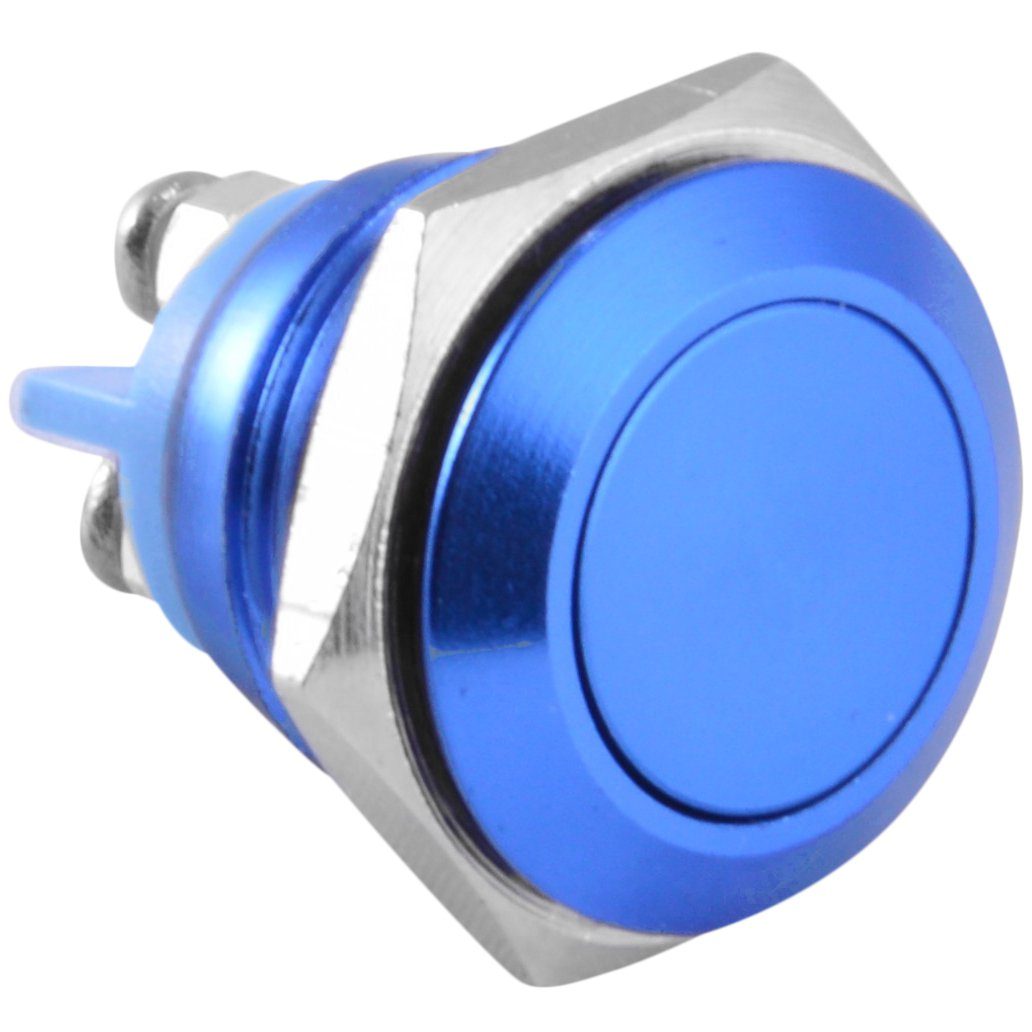 16mm Flush Mounted Momentary Red Aluminium Round Push Button Switch