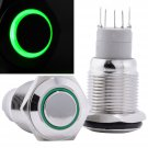 16mm 12V LED Momentary Push Button Stainless Steel Power Switch, Blue