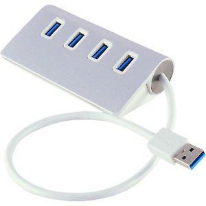 4-Port USB 3.0 Hub 5Gbps Aluminum Portable for PC Laptop Notebook Desktop