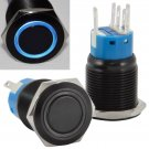 19mm Stainless Steel Latching Push Button Switch (Black with Blue LED)