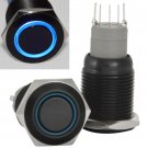 16mm Stainless Steel Latching Push Button Switch (Black with Blue LED)