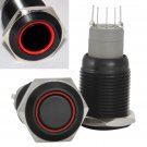16mm Stainless Steel Latching Push Button Switch (Black with Red LED)