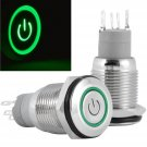 16mm 12V Latching Push Button Power Switch Stainless Steel Green LED Waterproof