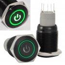 16mm 12V Latching Push Button Power Switch Black Metal Green LED Waterproof