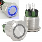 25mm Stainless Steel Momentary Push Button Switch with Blue LED