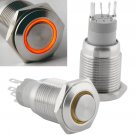 16mm Latching Push Button Power Switch Stainless Steel w/ Orange LED Waterproof