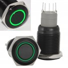 16mm Stainless Steel Latching Push Button Switch (Black with Green LED)