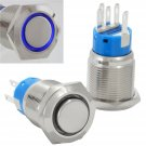 19mm Stainless Steel Momentary Push Button Switch with Blue LED