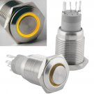 16mm Latching Push Button Power Switch Stainless Steel w/ Yellow LED Waterproof