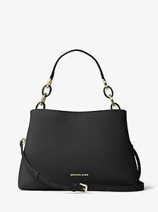 BNWT~ MICHAEL KORS LARGE SAFFIANO LEATHER PORTIA SATCHEL PURSE BAG~BLACK
