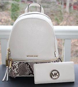 NWT~ Michael Kors Women's Medium Rhea Embossed Zip Backpack & Wallet
