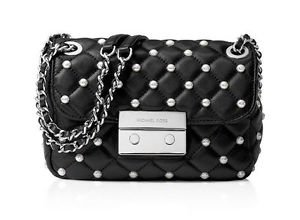 NWT~Michael Kors Pearls Sloan Small Chain Should Bag, Black/Silver   $328