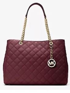 NWT~ Michael Kors Large Quilted Leather Susannah Tote Purse bag~ Merlot~ $428
