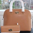 NWT ~Michael Kors Cindy Large Leather Dome Satchel Purse Handbag & Wallet~ Acorn