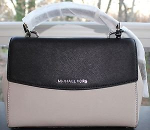 NWT~Michael Kors Small Ava Top Handle Convertible Satchel ~Cement/Black