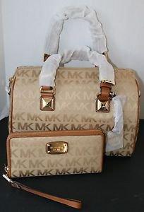 NWT~Michael Kors Grayson LARGE Satchel Handbag Purse and Wristlet/Wallet (CAMEL)