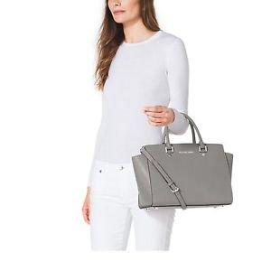 BNWT Michael Kors Selma Large Patent Leather Top Zip Satchel Handbag ~Cinder