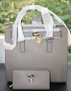 NWT~Michael Kors Hamilton Traveler Lg. Saffiano Leather Tote and Wallet Taupe