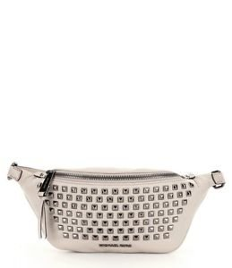 NWT~ Michael Kors Rhea Zip Pyramid Studded Leather BeltBag ~CEMENT