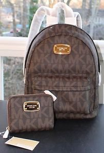 NWT~ MICHAEL KORS Jet Set MK SIG PVC/LEATHER  Extra Small XS Backpack & Wallet